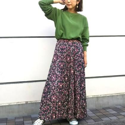 秋の花柄スカート♡