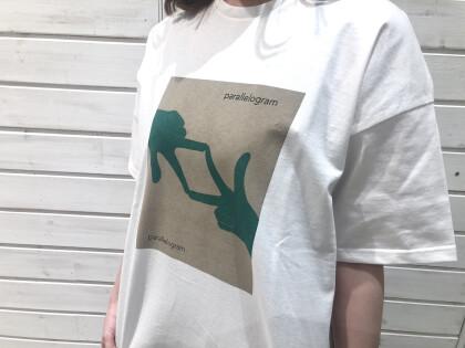 ハンドプリント クルーNTシャツ/ レーヨン麻ストライプ イージーパンツ