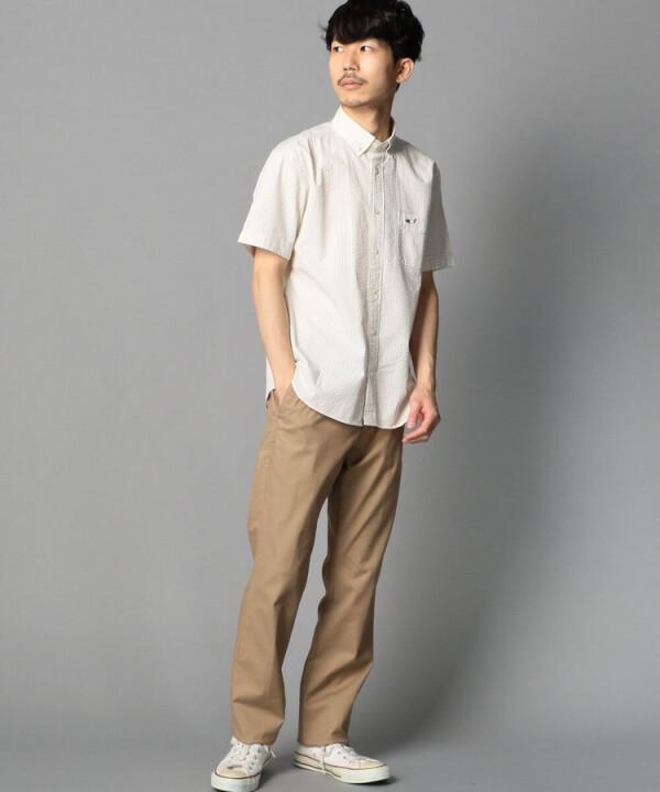 クジラ刺繍ボタンダウン半袖シャツ