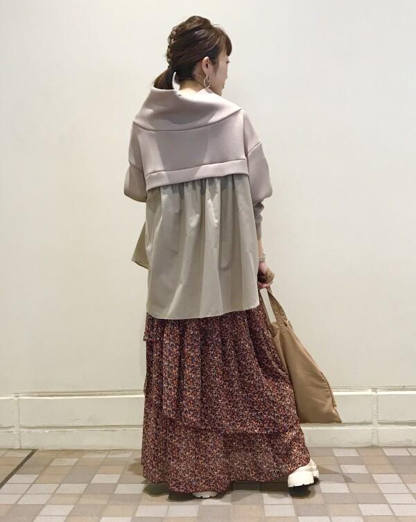 ♡異素材ドッキング抜け衿プルオーバー♡