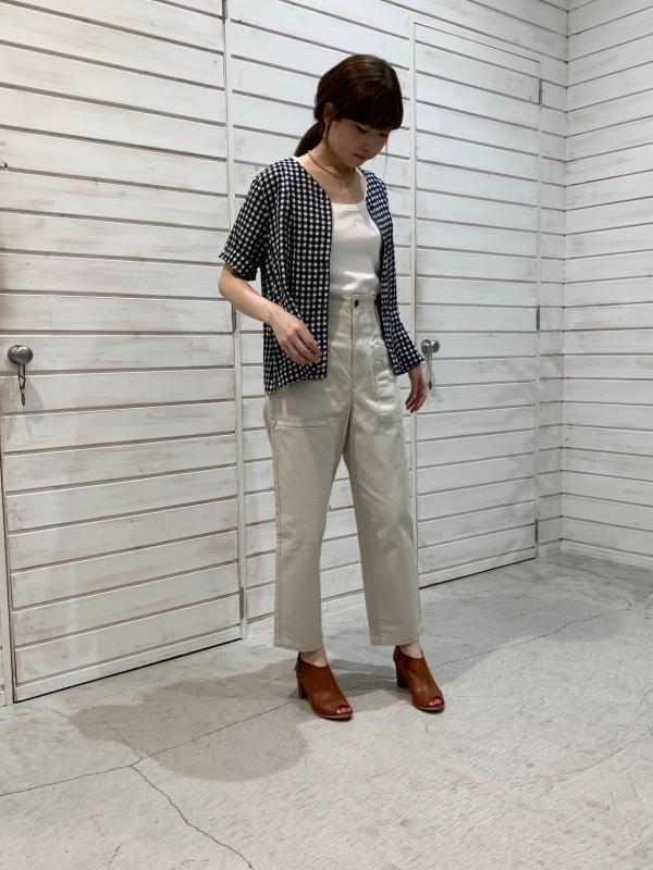 アセテートギンガム半袖シャツ
