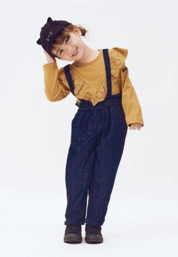【襟フリルロングTシャツ】