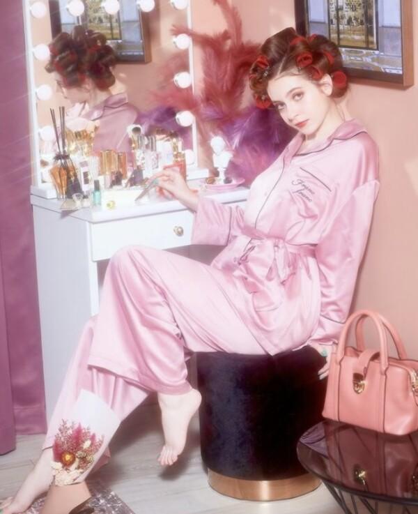 ロゴ刺繍パジャマピンク