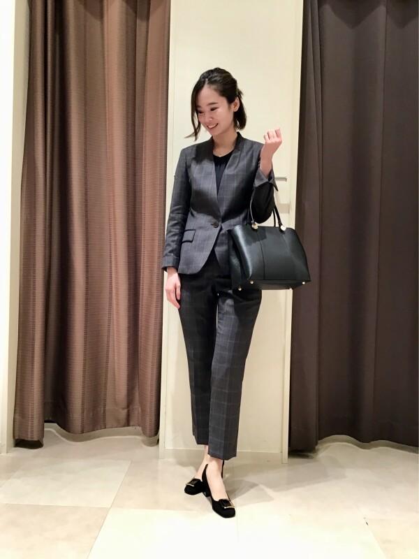【Ladies】ブラウンチェックウールスーツ