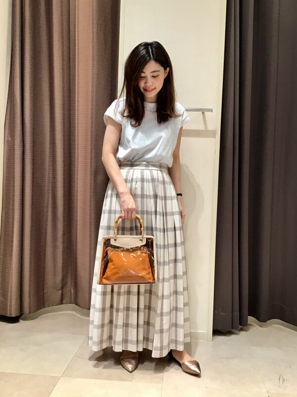 【Ladies】夏素材☆チェック柄スカート